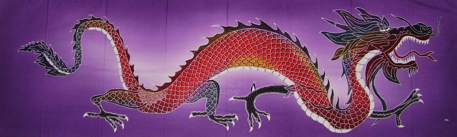 "Authentic Cotton Batik Textile Art Purple Galeru Dragon 56"" x 18"" Multi Color"