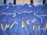 "Authentic Cotton Batik Textile Art  Elephants on the Move 28"" x 36"" Multi Color"