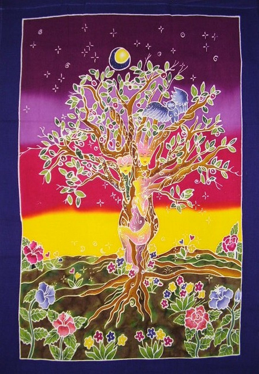 "Authentic Batik Textile Art Tree Sisters II 31"" x 23"" Multi Color"