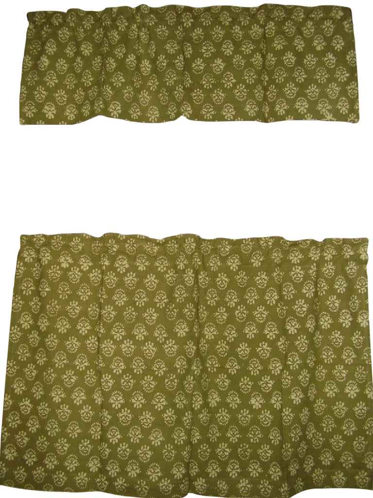 "Cafe Curtain with Valance Block Print Cotton 44"" x 30"" Olive Green"