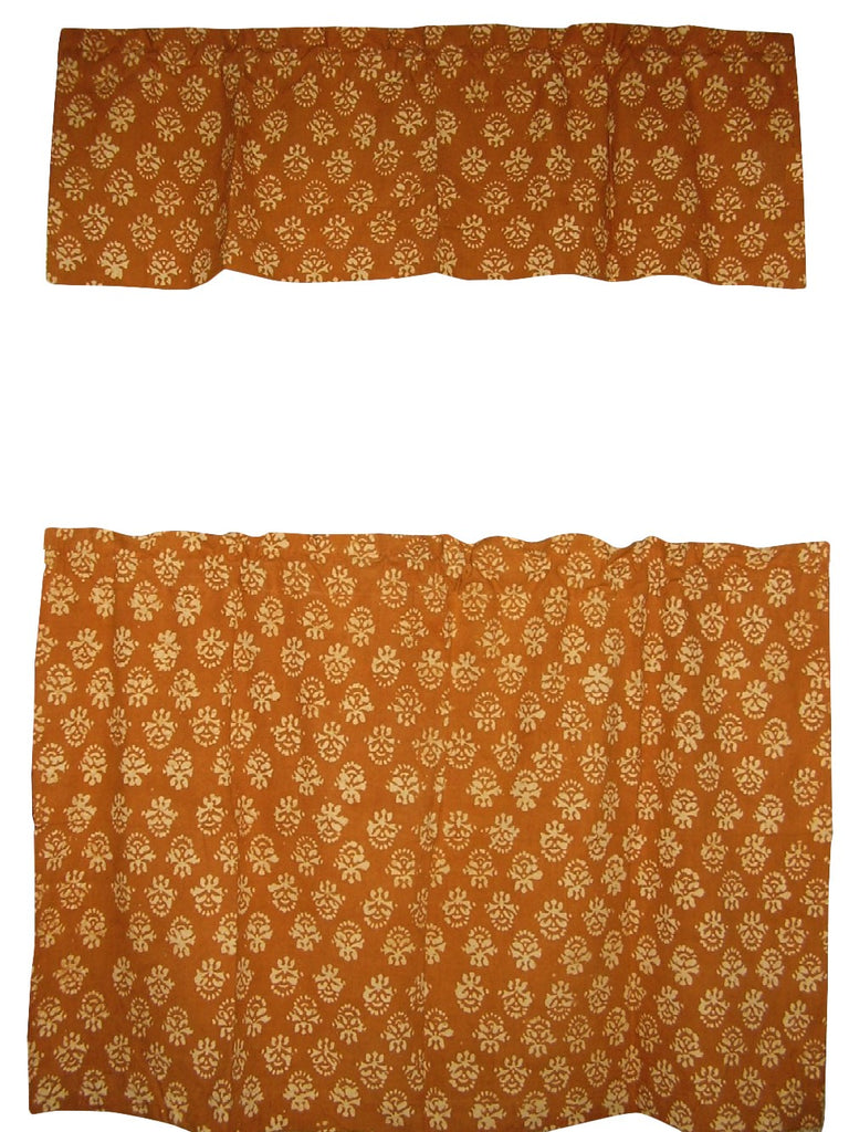 "Cafe Curtain with Valance Block Print Cotton 44"" x 30"" Brown"