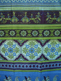 "Indian Print Tab Top Curtain Drape Panel Cotton 44"" x 88"" Blue Green"