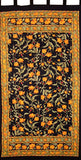 "French Floral Tab Top Curtain Drape Panel Cotton 44"" x 88"" Amber Black"