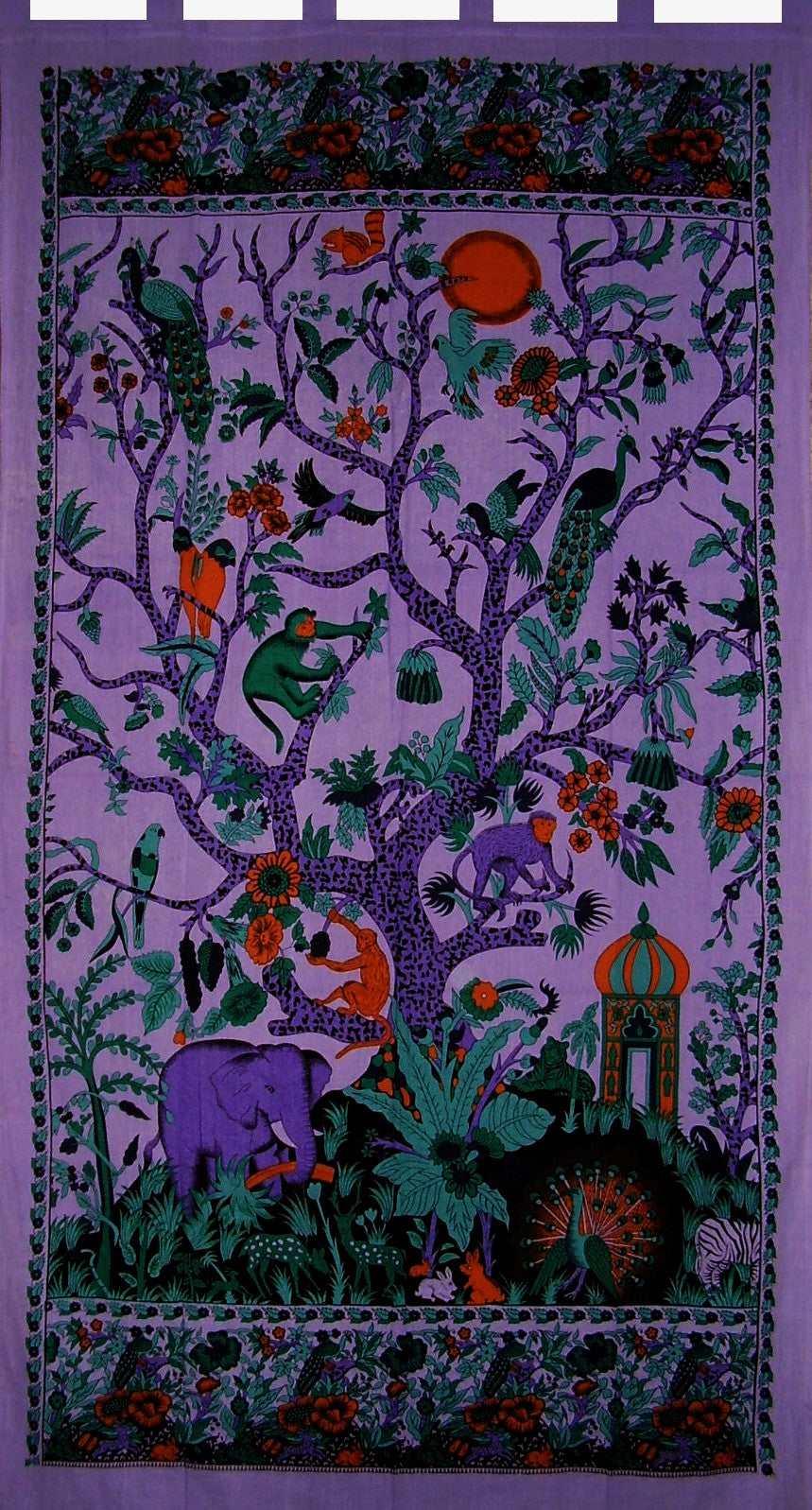 "Tree of Life Tab Top Curtain Drape Panel Cotton 44"" x 88"" Purple"