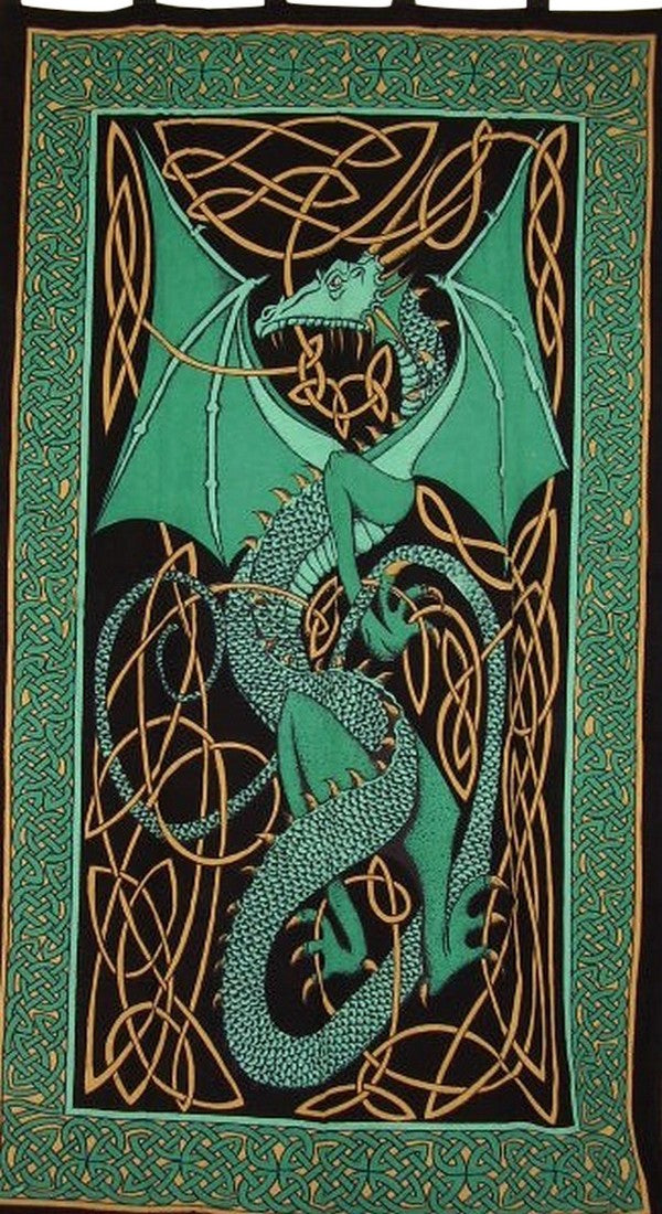 "Celtic Dragon Tab Top Curtain Drape Panel Cotton 44"" x 88"" Green"