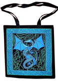 Celtic Dragon Tote Bag Cotton Flat Bottom 16 x 17 Blue