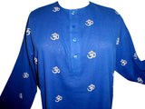 Kurta Shirt Om Symbol 100% Cotton Medium Blue