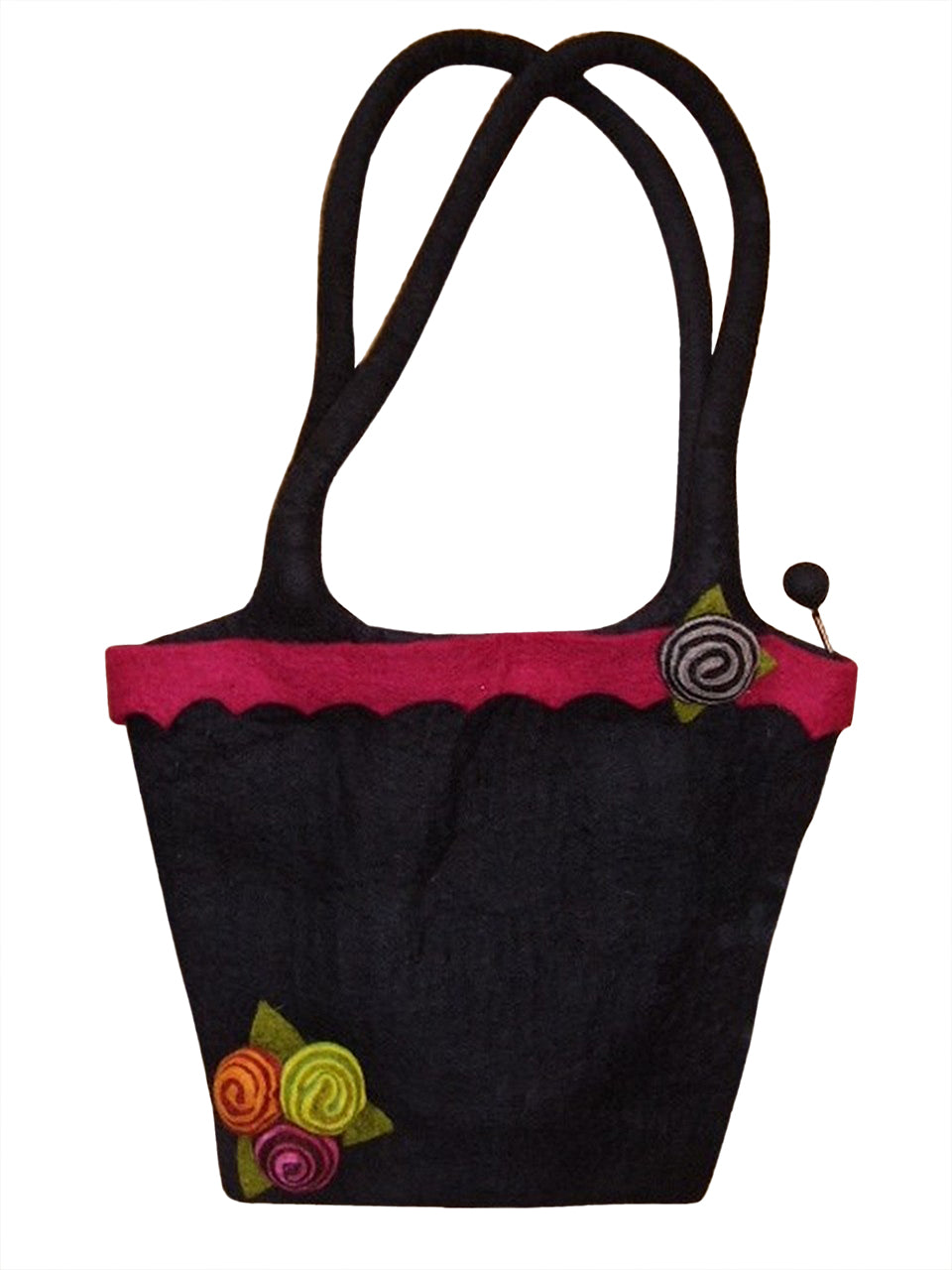 "Handcrafted Felt Handbag 11"" x 11"" Zipper Enclosure Black"