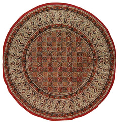 "Kalamkari Block Print Round Cotton Tablecloth 72"" Multi Color"