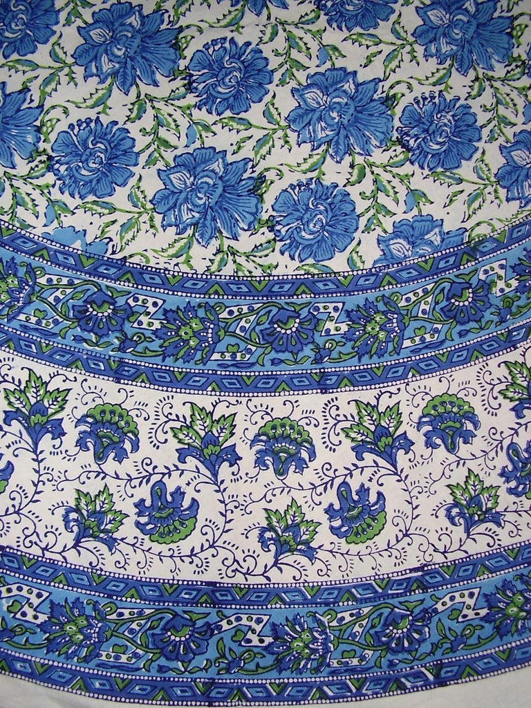 "Lotus Flower Block Print Floral Round Cotton Tablecloth 72"" Blue"