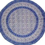 "Rajasthan Block Print Round Cotton Tablecloth 72"" Blue"