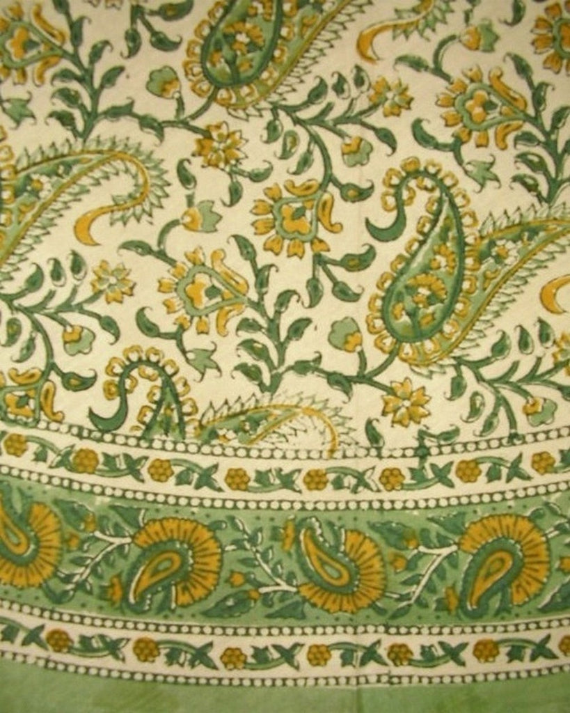 "Block Print Rajasthan Paisley Round Cotton Tablecloth 72"" Green"
