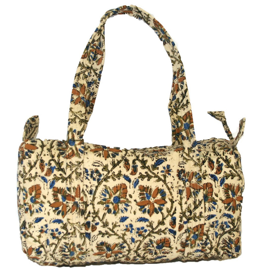 Block Printed Cotton Quilted Kalamkari Carry All Bag 14 x 8