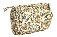Block Printed Cotton Quilted Kalamkari Accessory Bag 8 x 6