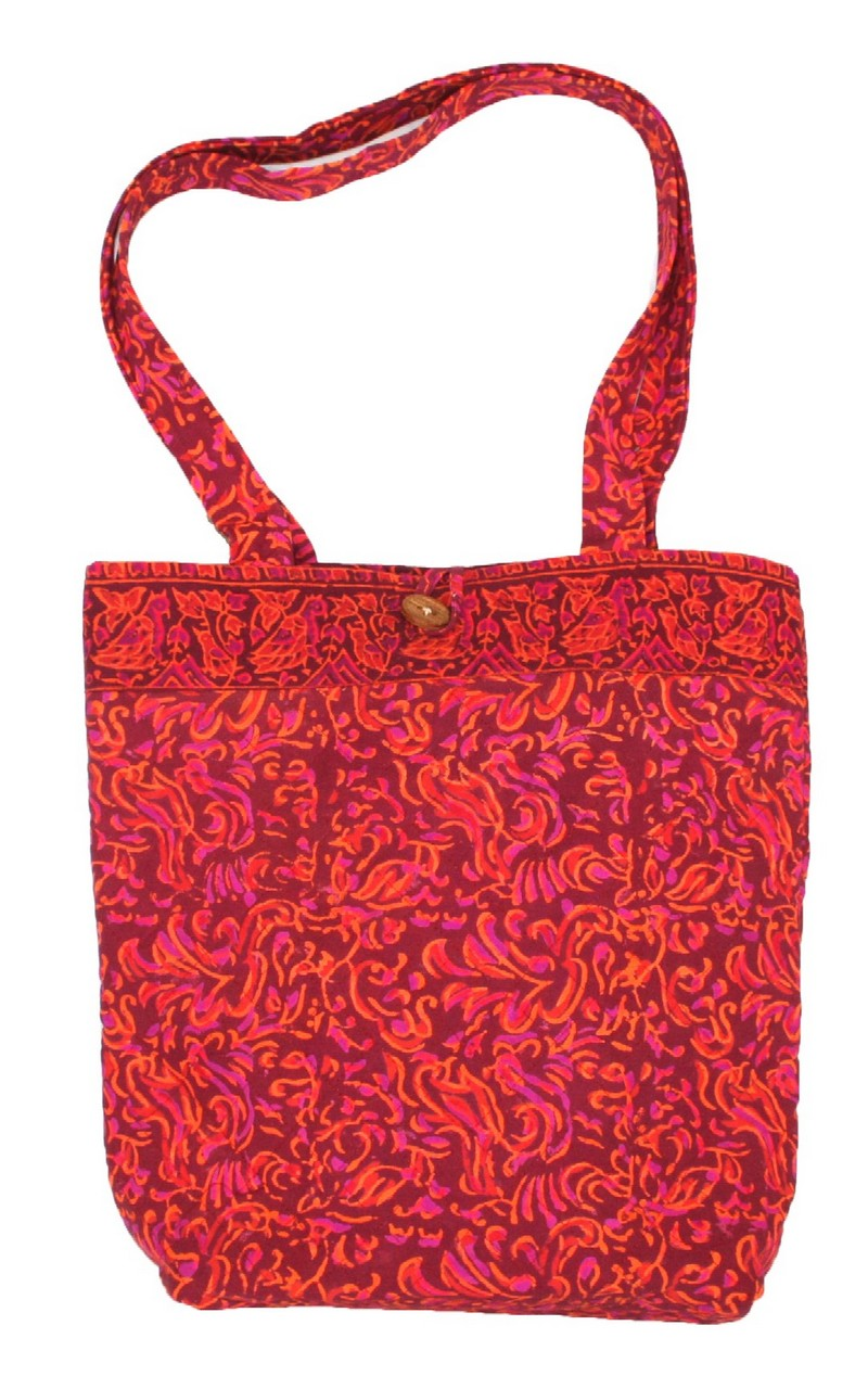 Block Printed Cotton Quilted Sanganeer Structured Tote Bag 14 x 14