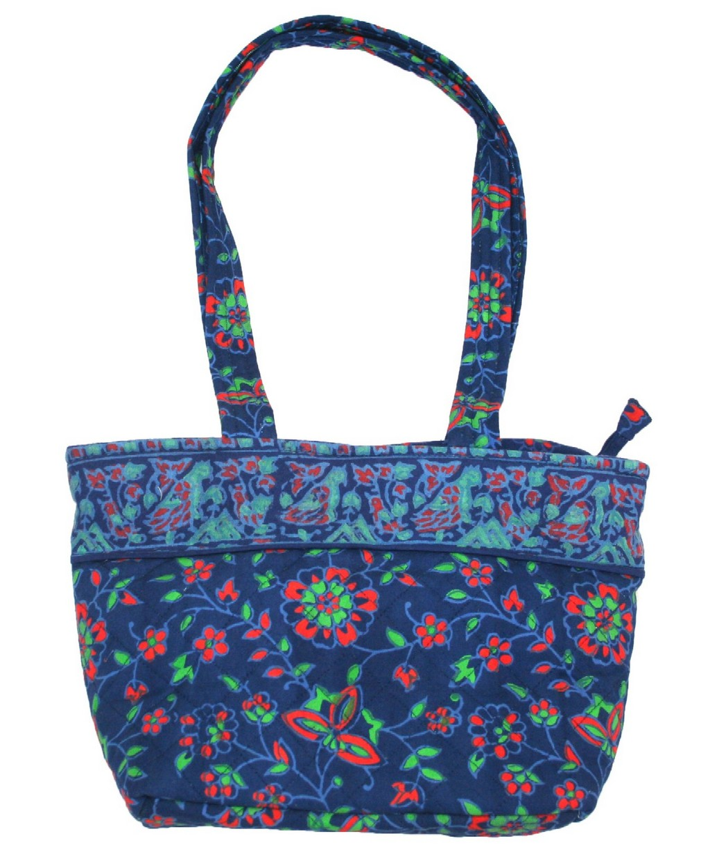 Block Printed Cotton Quilted Napthol Handbag 13 x 9