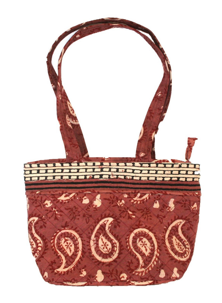 Block Printed Cotton Quilted Dabu Handbag 13 x 9