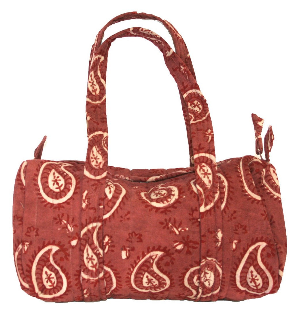 Block Printed Cotton Quilted Dabu Carry All Bag 14 x 8