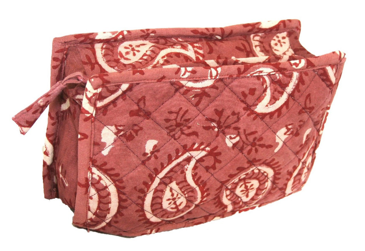 Block Printed Cotton Quilted Dabu Clutch Bag 9 x 7