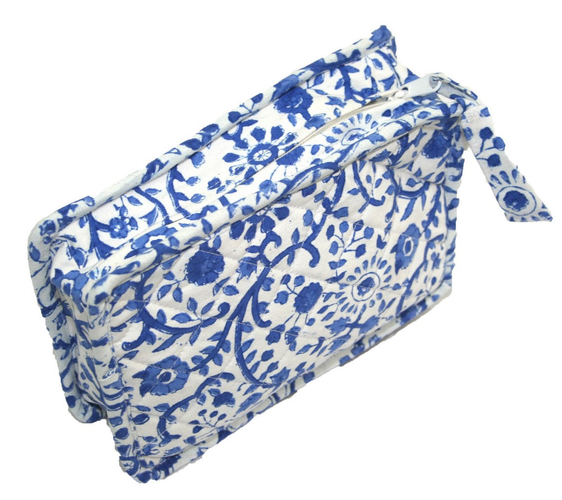 Block Printed Cotton Quilted Rajasthan Clutch Bag 9 x 7