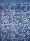 "Rajasthan Paisely Block Print Curtain Drape Panel Cotton 46"" x 88"" Blue"