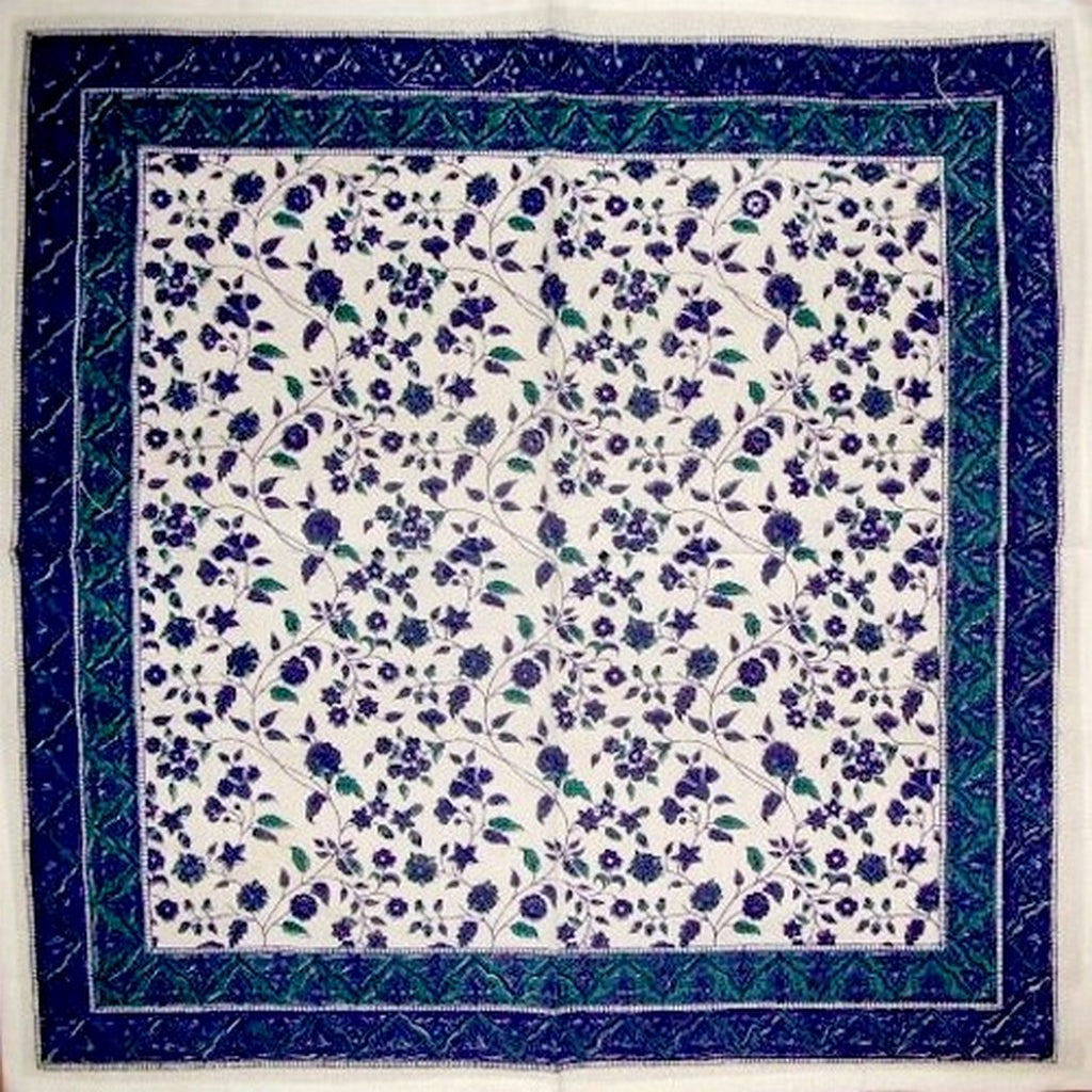 "Fleur De Lis Cotton Table Napkin 18"" x 18"" Blue"