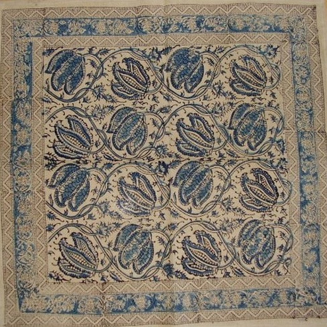 "Veggie Dye Block Print Cotton Table Napkin 18"" x 18"" Blue"