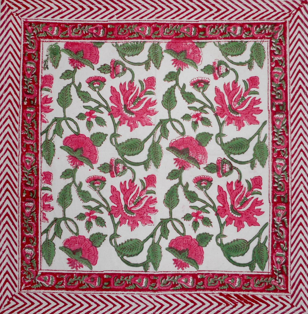 "Pretty in Pink Block Print  Cotton Table Napkin 20"" x 20"" Pink"