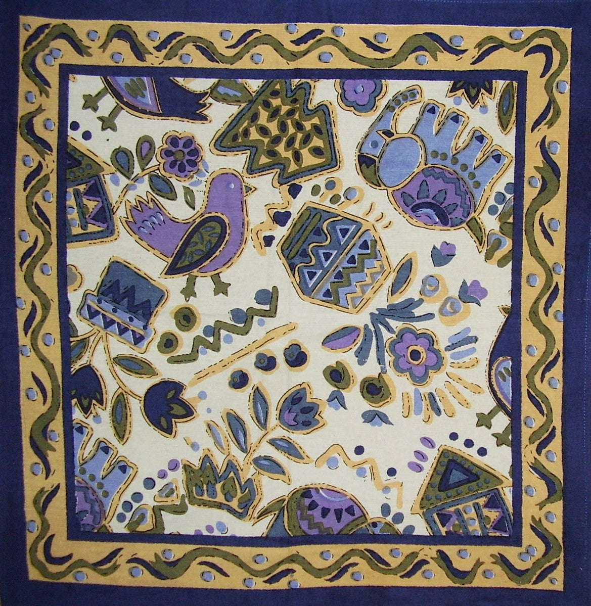 "Whimsical Country Cotton Table Napkin 18"" x 18"" Blue"