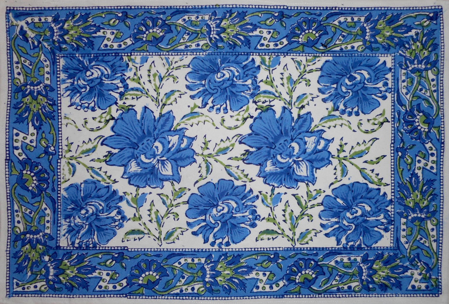 "Lotus Flower Block Print Cotton Table Placemat 20"" x 14"" Blue"