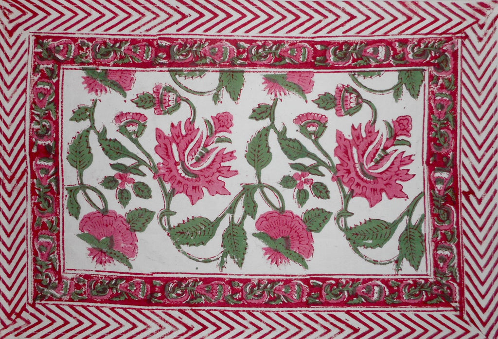 "Pretty in Pink Block Print Cotton Table Placemat 20"" x 14"" Pink"
