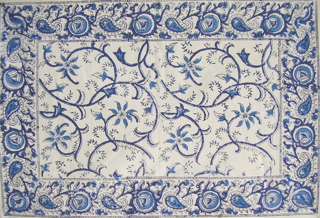 "Rajasthan Vine Cotton Table Placemat 19"" x 13"" Blue"