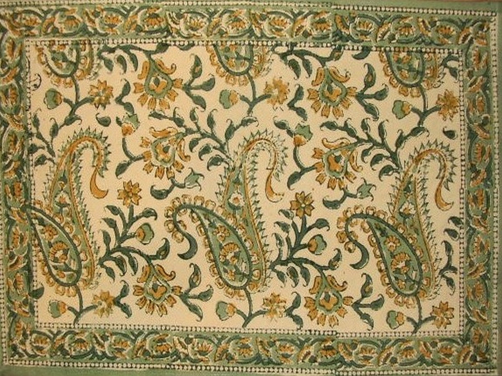 "Rajasthan Paisley Cotton Table Placemat 19"" x 13"" Green"