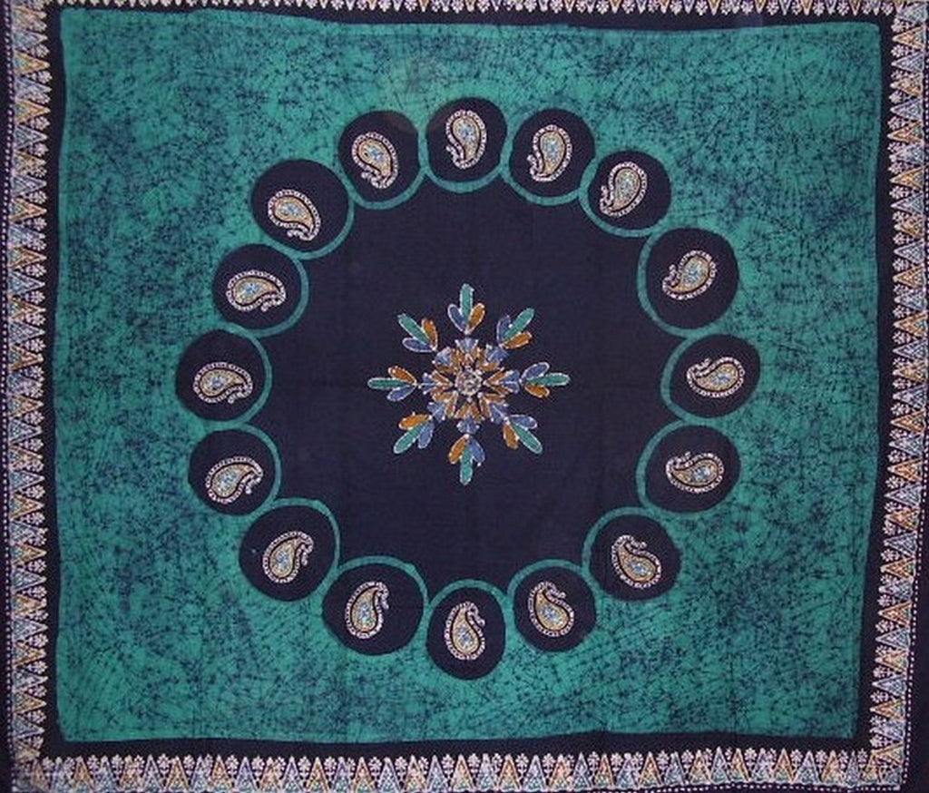 "Batik Tapestry Cotton Bedspread 108"" x 88"" Full-Queen Green"