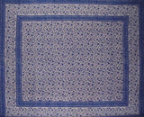 "Rajasthan Block Print Tapestry Cotton Spread 106"" x 70"" Twin Blue"