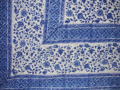 "Rajasthan Block Print Tapestry Cotton Bedspread 108"" x 88"" Full-Queen Blue"