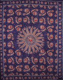 "Celestial Tapestry Cotton Bedspread 108"" x 88"" Full-Queen Blue"