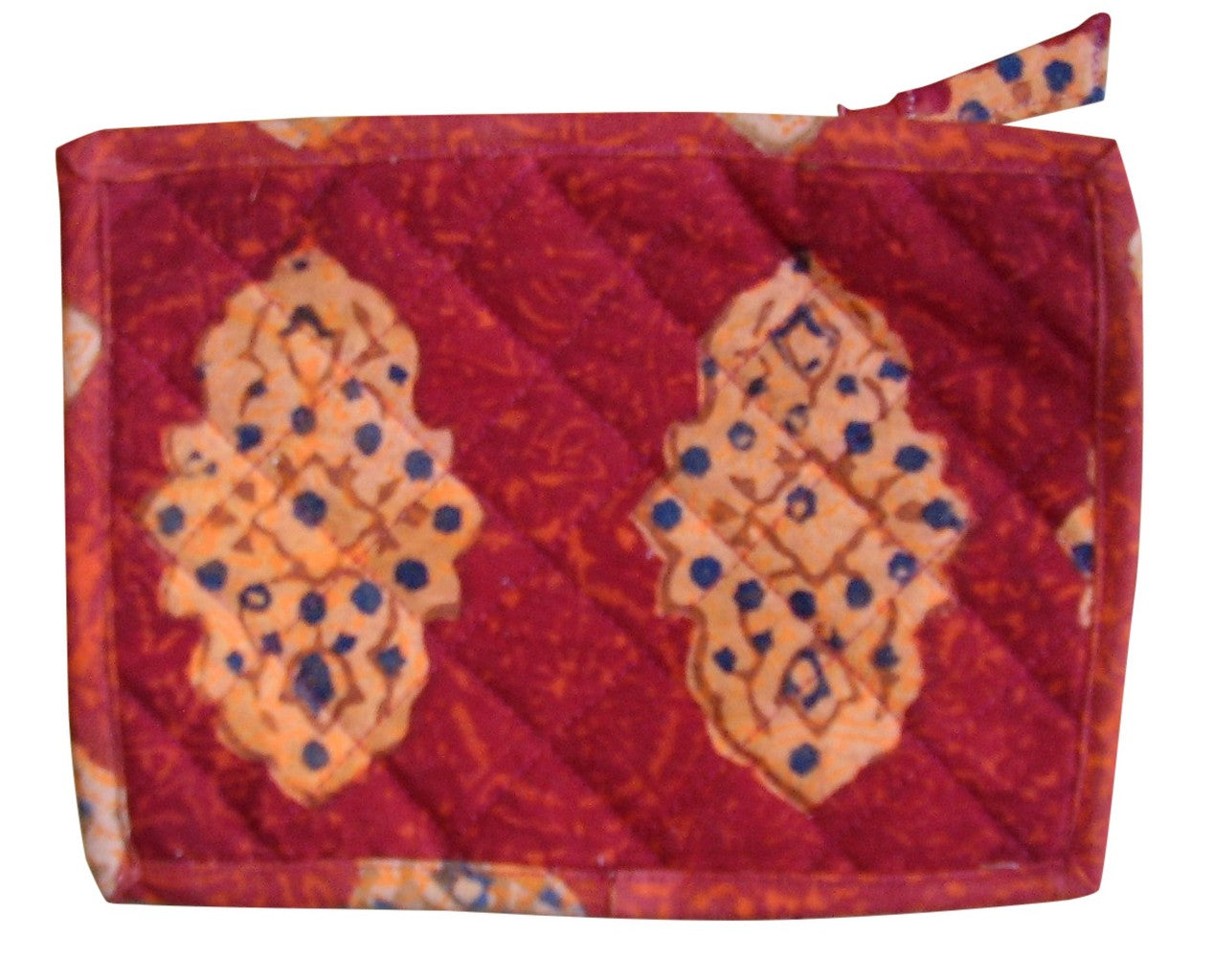 Block Printed Cotton Quilted Kensington Clutch Bag 9 x 7