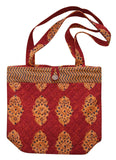 Block Printed Cotton Quilted Kensington Structured Tote Bag 14 x 14