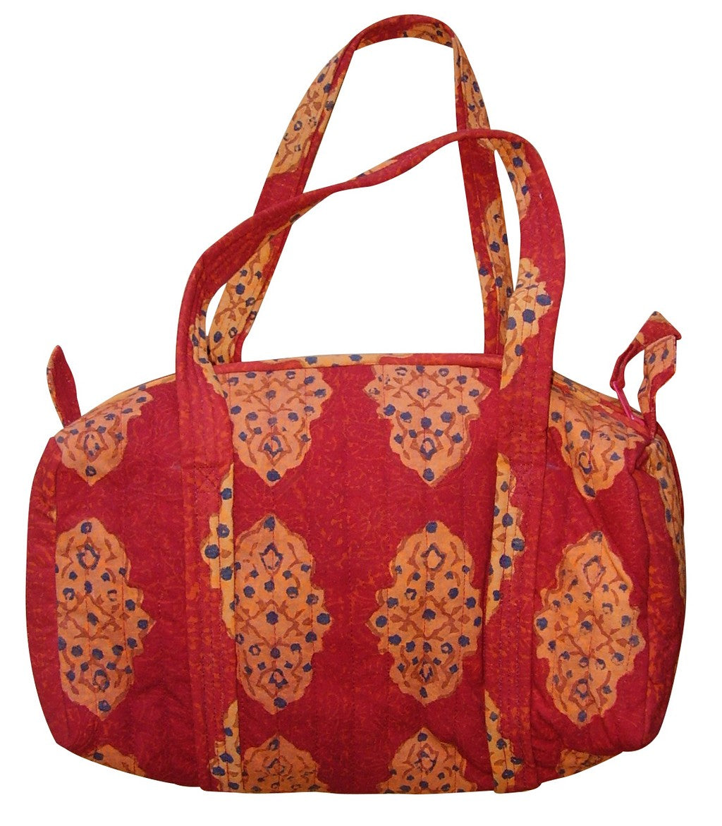 Block Printed Cotton Quilted Kensington Carry All Bag 14 x 8