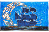 "3-D Glow In The Dark Moon Ship Tapestry Cotton Wall Hanging 60"" x 90"" Single Blue"
