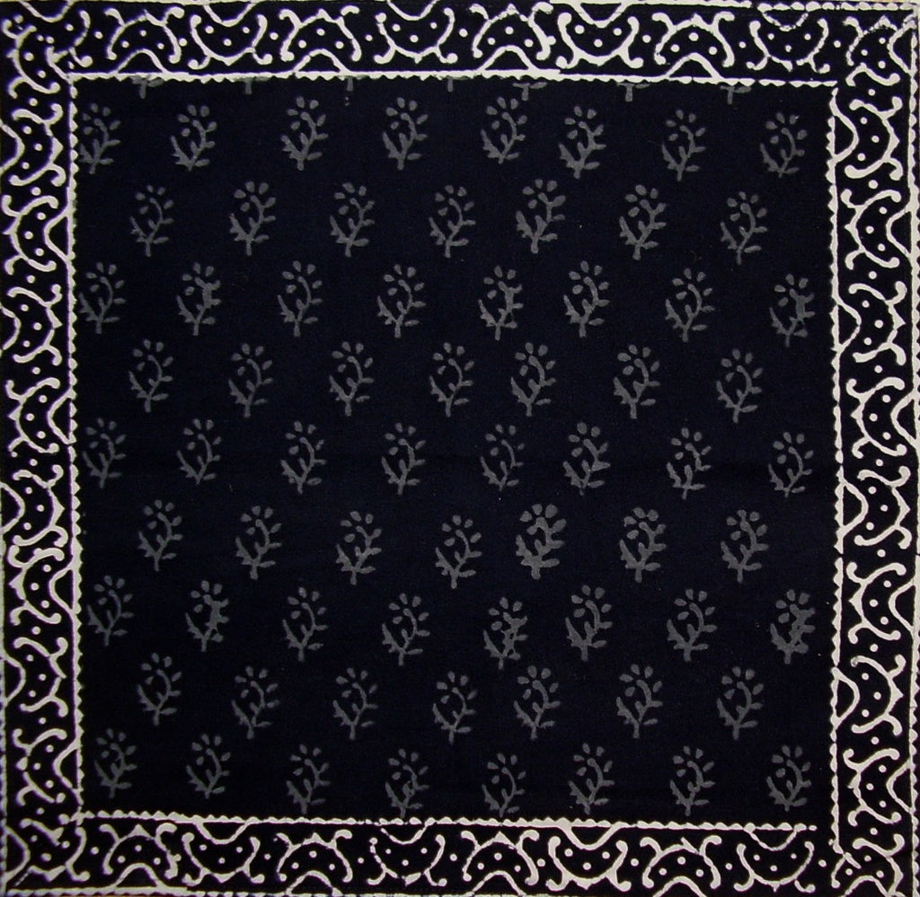 "Primitive Hand Block Printed Cotton Table Napkin 20"" x 20"" Black"