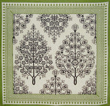 "French Floral Print Cotton Napkin 17"" x 17"" Olive & Black"