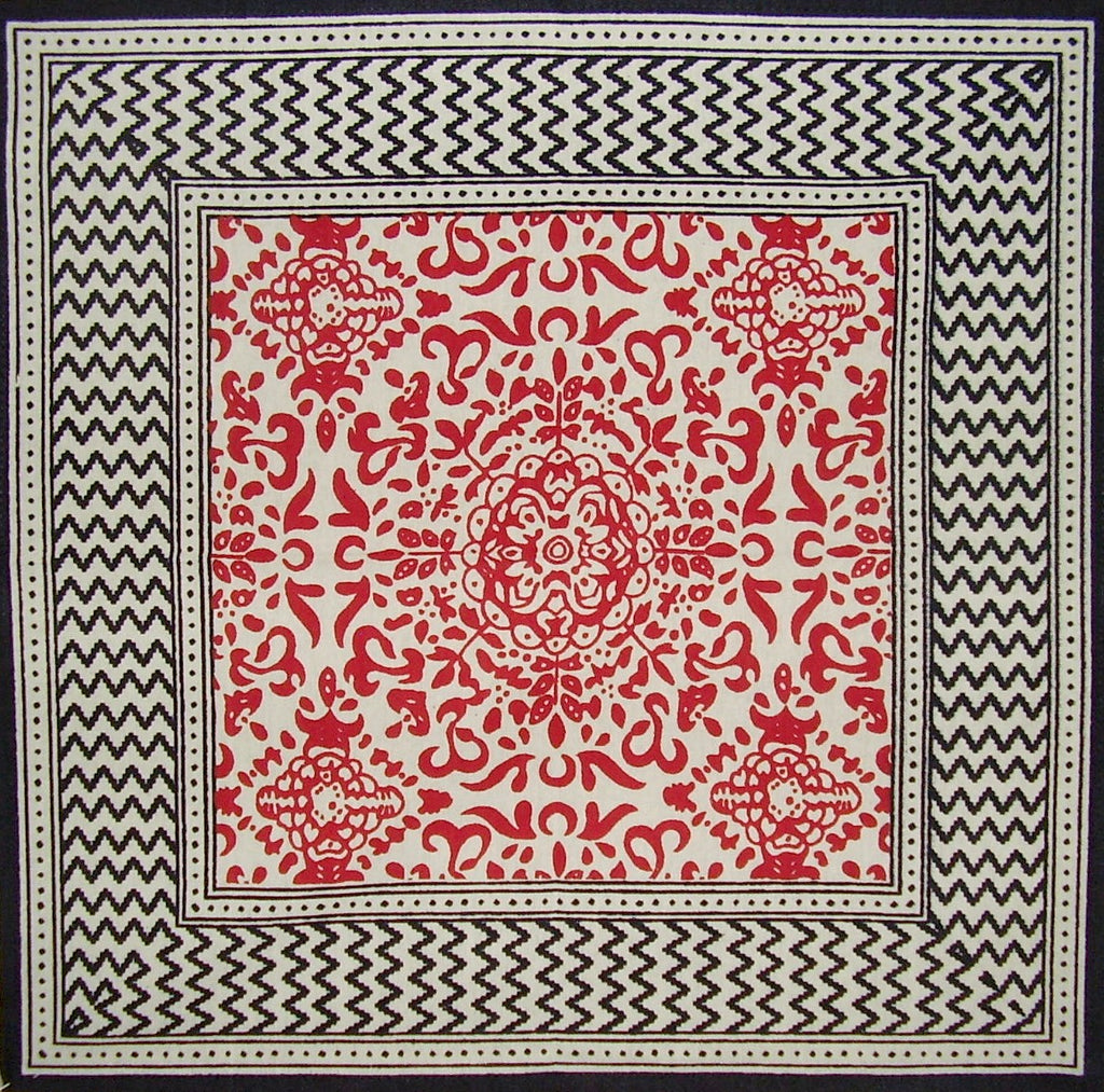 "Moroccan Print Cotton Napkin 17"" x 17"" Black & Red"