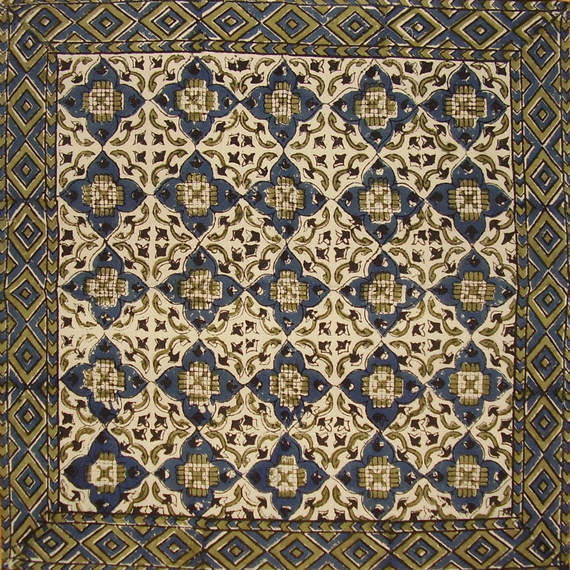 "Moroccan Block Print Cotton Table Napkin 18"" x 18""  Indigo Blue"