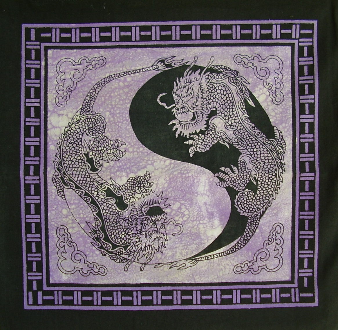 Yin Yang Dragon Cushion Pillow Cover Black/Purple 18 x 18