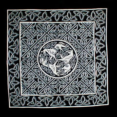 Celtic Circle of Horses Cushion Pillow Cover Gray