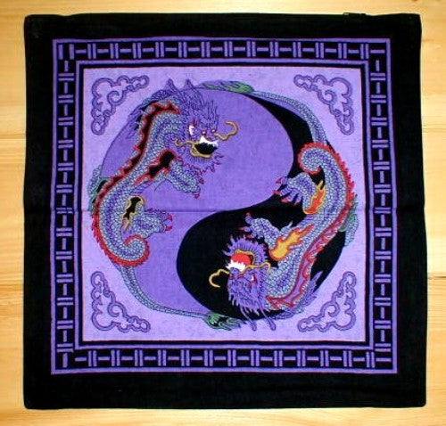 Yin Yang Dragon Cushion Pillow Cover Purple