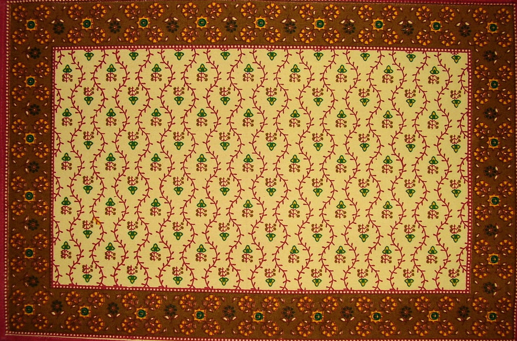 "Buti Print Cotton Table Placemat 19"" x 13"" Red"