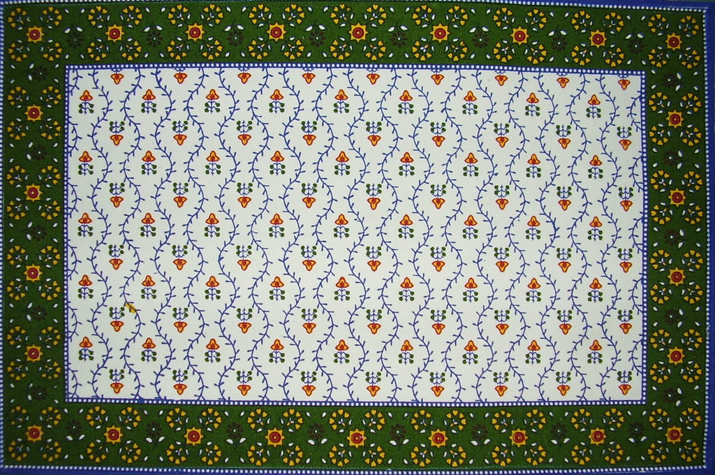 "Buti Print Cotton Table Placemat 19"" x 13"" Blue"